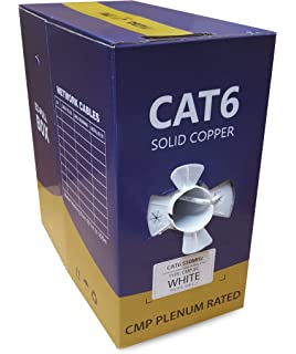 23AWG Solid Pure Bare Copper Wire 1000ft Network Internet Cord CMP No Logo UTP 550Mhz Gray 106204 Monoprice Cat6 Ethernet Bulk Cable Plenum