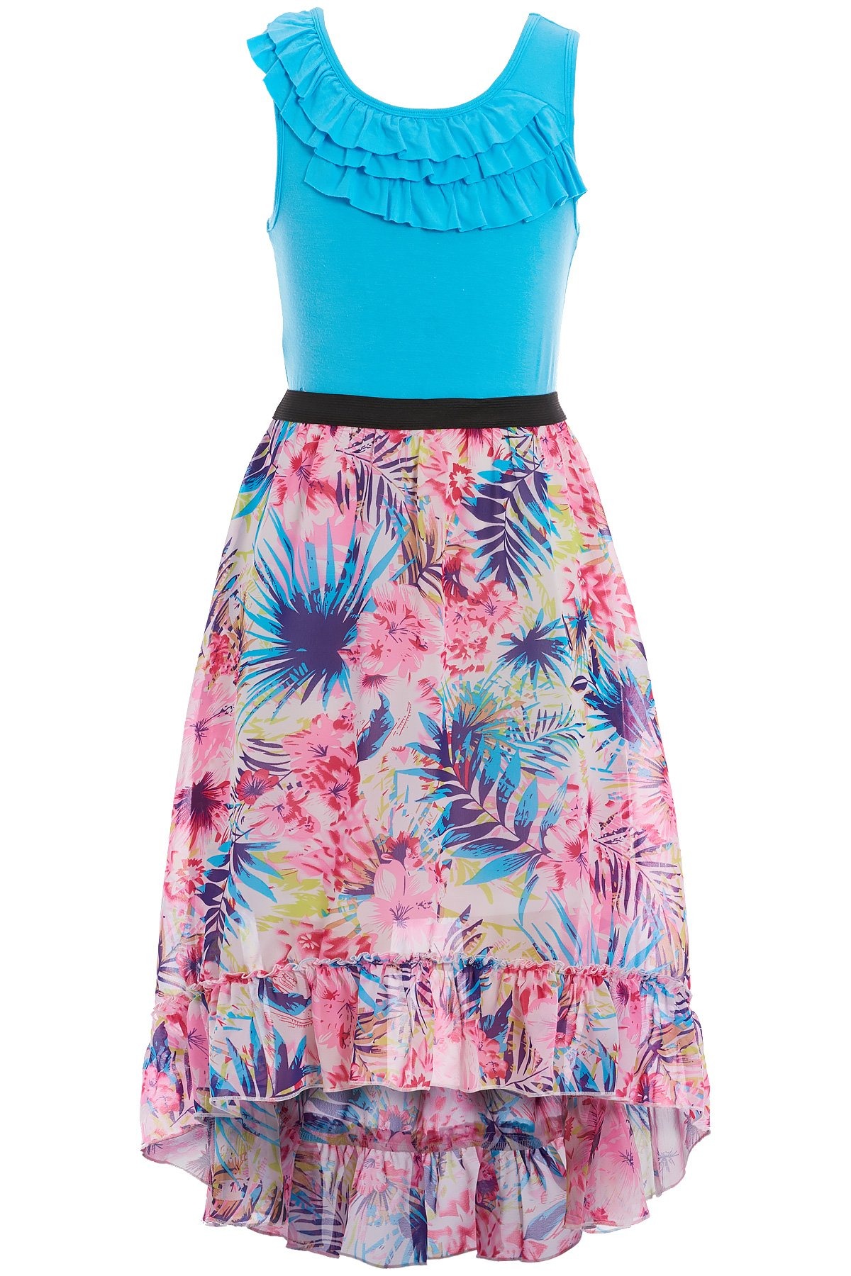 Truly Me, Soft Knit Top & Beautiful Floral Chiffon Bottom Dress (Many Options), 7-16 (16, Turquoise Multi)