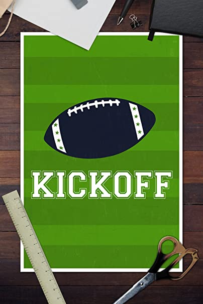 Amazon.com: Monogram - Game Day - Blue and Green - Kickoff (12x18 Fine Art Print, Home Wall Decor Artwork Poster): Posters & Prints