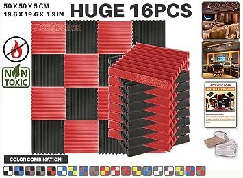 Ace Punch 16 piezas ROJO y NEGRO Cuña Studio Foam Panel Aislamiento Acústico Tratamiento Espuma Acústica con lengüetas de montaje libre 50 x 50 x 5 cm ...