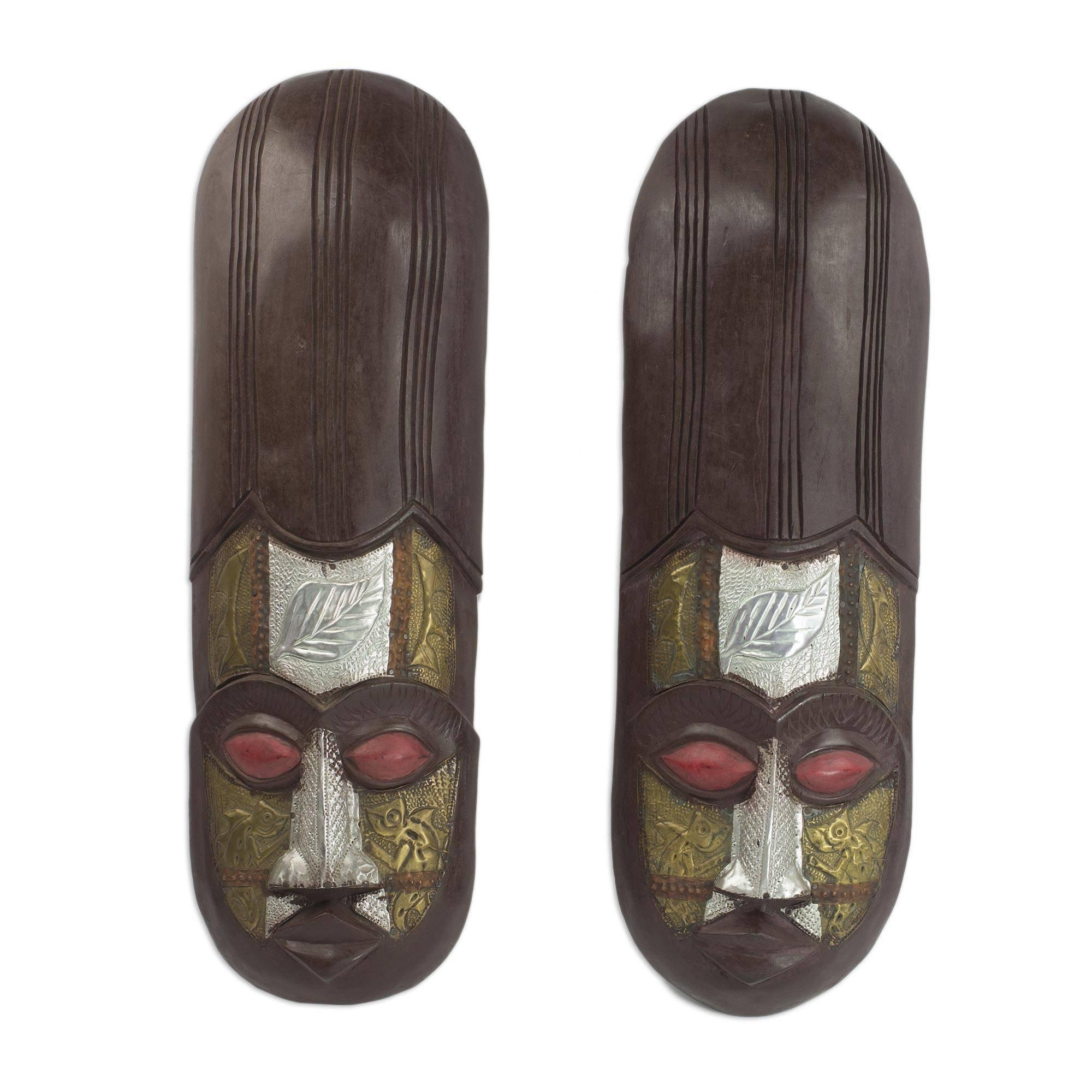 NOVICA Decorative Large Sese Wood Mask, Brown 'Baoule Asafo'