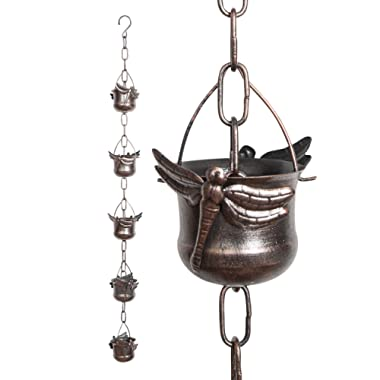 Iron Dragonfly Decorative Rain Chain for Gutters   Unique Downspout Extension Home Décor   Rainwater Diverter with Rain Collector Cups is an Excellent Gift Idea for Housewarming, Birthday