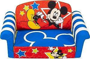 Marshmallow Furniture, Children's 2-in-1 Flip Open Foam Compressed Sofa, Disney's Mickey Mouse