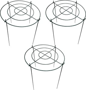 Gray Bunny Round Plant Support, 3-Pack, 18 in Diameter, 23 in Height, Grow Through Flower Supporter Cage, Plant Support Stake, Metal Garden Plant Stake, Plant Cage