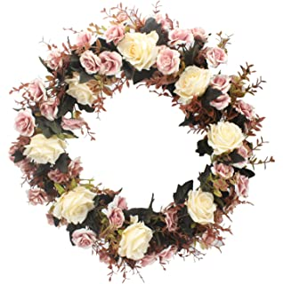 Duovlo Rose Floral Twig Wreath 19 Inch Handmade Artificial Flowers Garland  Front Door Wreath (Champagne