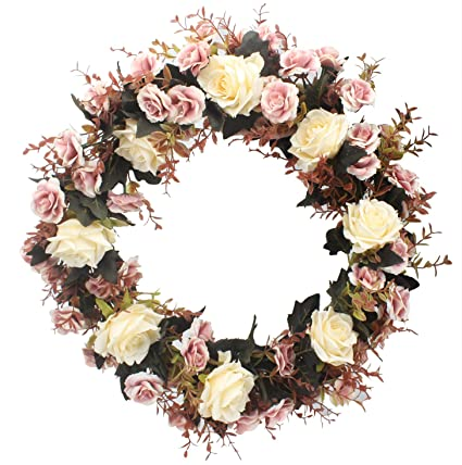 Charmant Duovlo Rose Floral Twig Wreath 19 Inch Handmade Artificial Flowers Garland Front  Door Wreath (Champagne