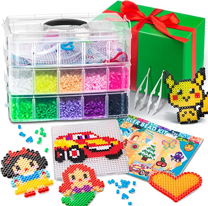 Small Beads Crafts for 8-12 Years Old Girls 24 Bright Colors Beads Indoor DIY Toy Birthday Gift for Kid Birthday Holiday Summer Days 7200 pcs Kids Toy Age 9-12 Fuse Beads Kit