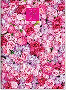 """TF PUBLISHING 2021 Pink Peony Party Monthly Planner - Large Calendar Grid - Daily Appointment Tracker - Notes Page - Perfect for Home or Office Planning and Organization - Premium Paper 7.5""""x 10.25"""""""