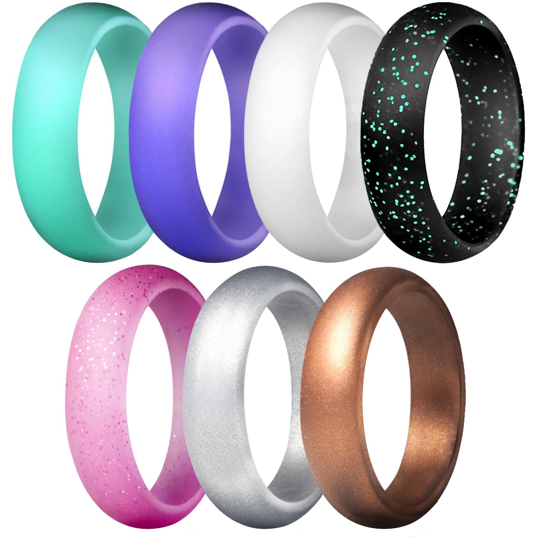 Rinspyre 7 Pack Silicone Wedding Rings For Women Rubber Bands 5.5mm Wide Size 7