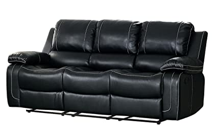 Homelegance Oriole Double Reclining Sofa Air Hyde Breathable Faux Leather  with Drop Down Center Cup Holders, Black