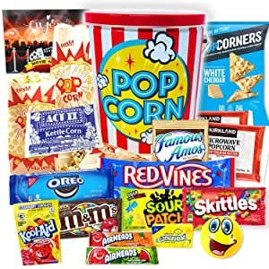 Ultimate Movie Night Gift Basket Snacks, Full Size candy variety POPCORN LOVER box for Kids, College Students & Family, Care Package Birthday Gift w/ Fancy Candy Tin Box, Valentine's quarantine gift