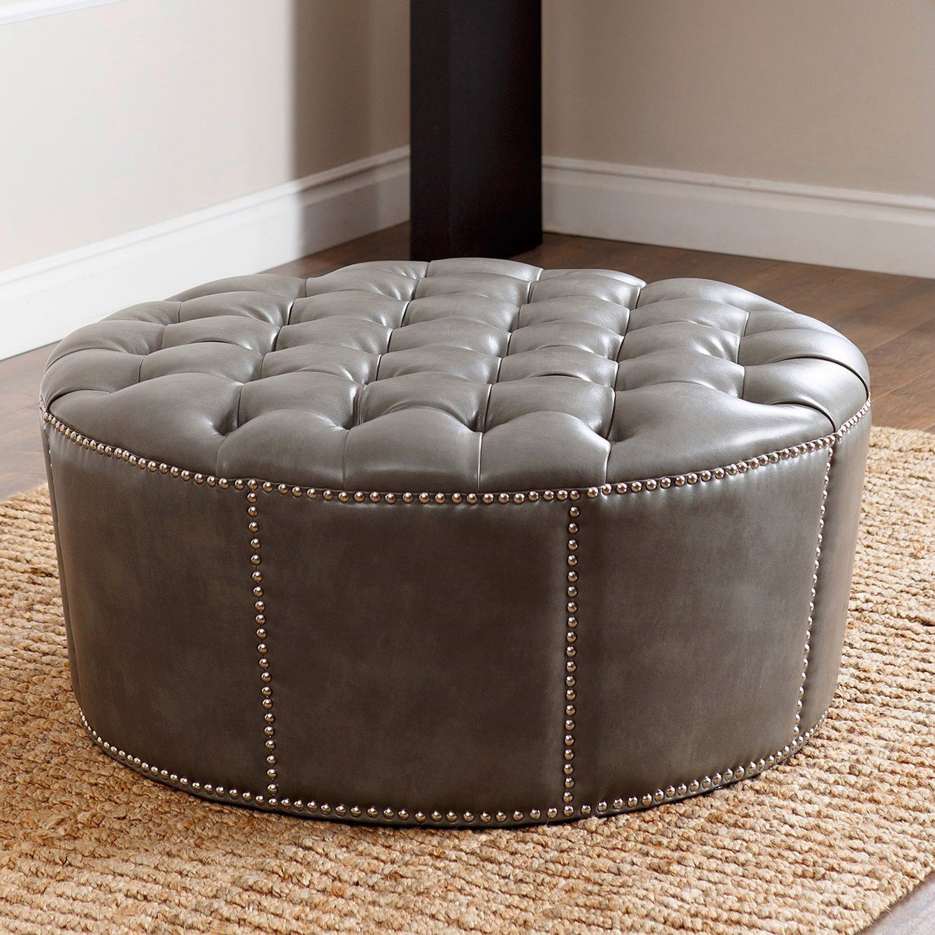 Abbyson Living Leather Ottoman, Nailhead Trim, Round, Newport Grey