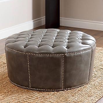 Groovy Abbyson Living Leather Ottoman Nailhead Trim Round Newport Grey Alphanode Cool Chair Designs And Ideas Alphanodeonline