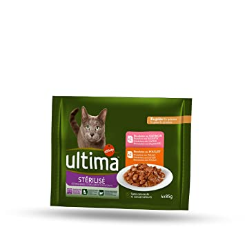 Ultima Comida Húmeda para Gato Esterilizados - Paquete de 10 x 340 gr - Total: