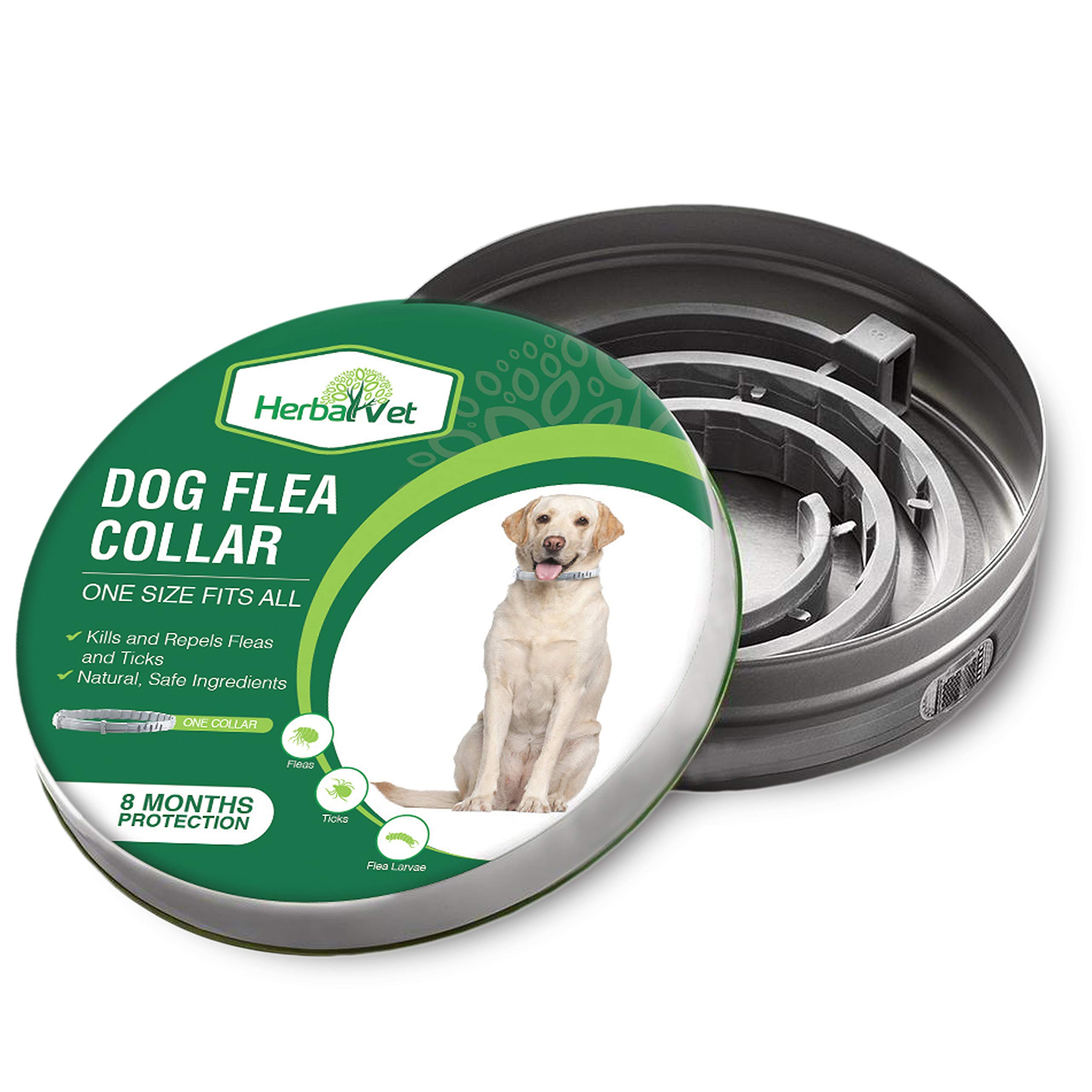 HerbalVet Dog Flea Collar for Flea and Tick Treatment and Prevention for Dogs| One Size Fits All, 100% Natural Oils, 100% Waterproof, 8 Month Essential Oil Flea Collar | Helpful E-Book Included by HerbalVet