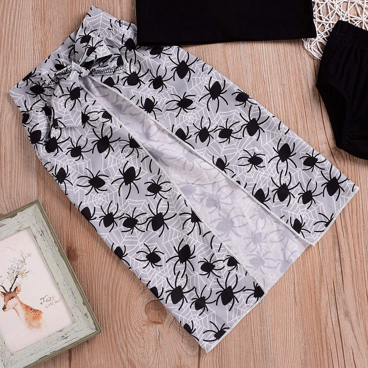 Halloween Outfit Infant Baby Girls Clothes Set Girls Spider Web Party Lace Tops+Shorts Pants+Split Dress Outfits