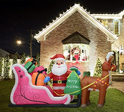 fashionlite 6 feet waterproof inflatable snowman and double deer wsled christmas lighted blow