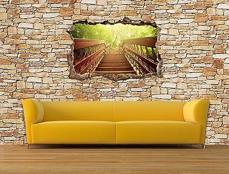 dalinda® Diseño Papel pintado en efecto 3d Jardín Escaleras piedra natural Muro claro Papel pintado vt2294: Amazon.es: Hogar
