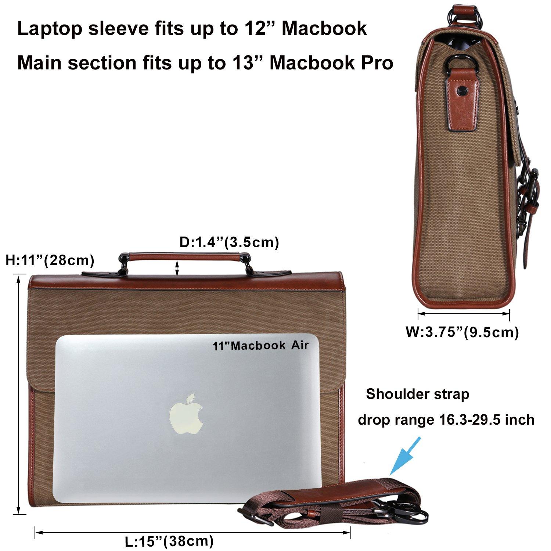 Banuce 13.3 inch Laptop Messenger Bag for Men Vintage Canvas Tote Briefcase Satchel Shoulder Bag by Banuce (Image #4)