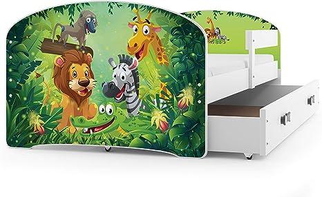 Interbeds Cama Individual LUKI - Blanco,160X80, con cajón, somier y colchón de Espuma Gratis! (Jungle)