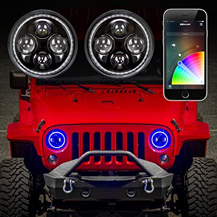 Jeep Halo Headlights >> 2pc 7 Jeep Rgb Halo Led Headlight Kit With Xkchrome Smartphone App Enabled Bluetooth Jeep Jk Tj