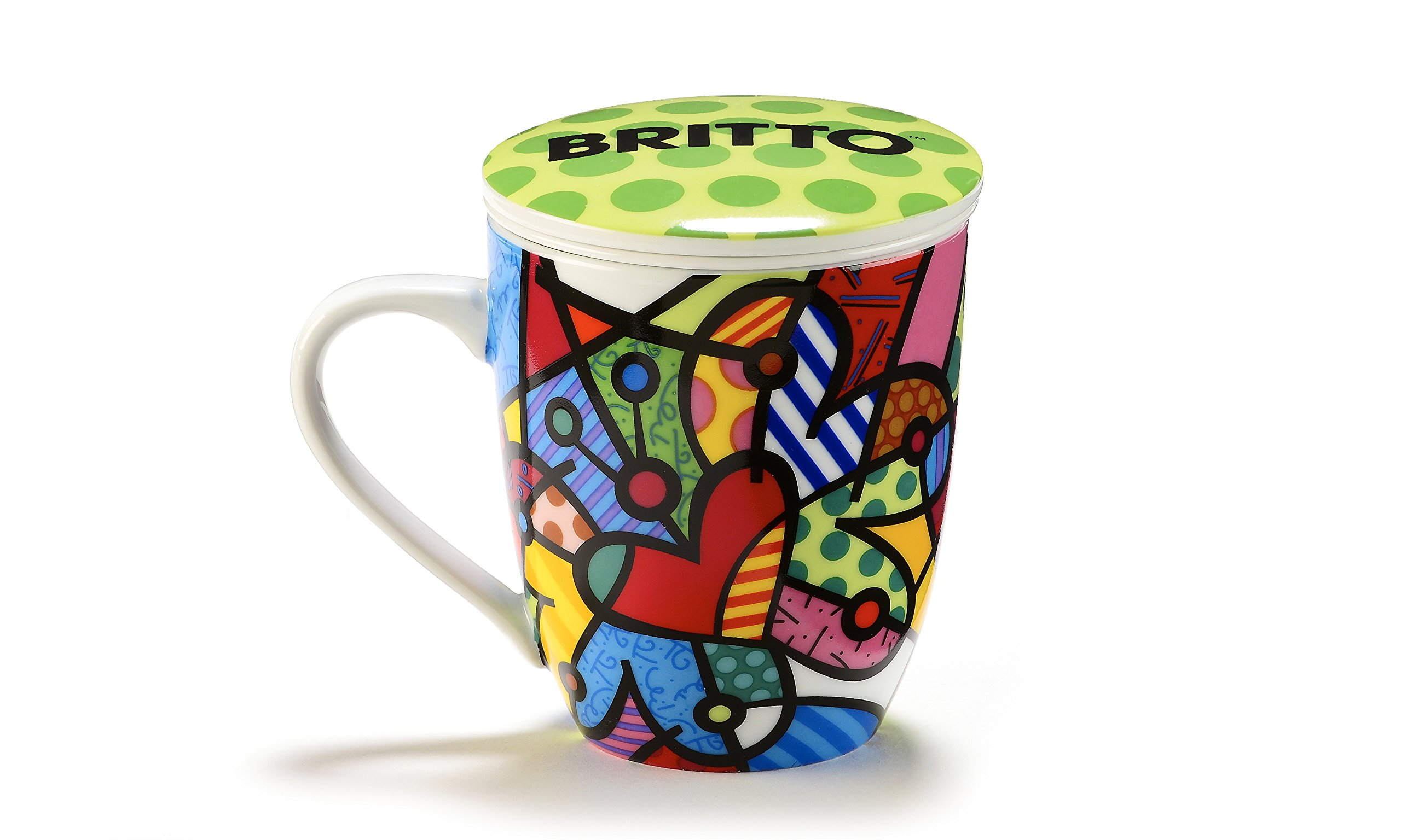 Romero Britto Porcelain Infuser Mug with Lid - Butterfly