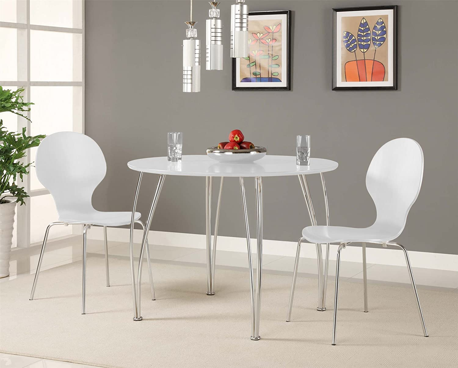 Amazon.com   Novogratz Shell Bentwood Modern Round Chairs, White, Set Of 2    Chairs