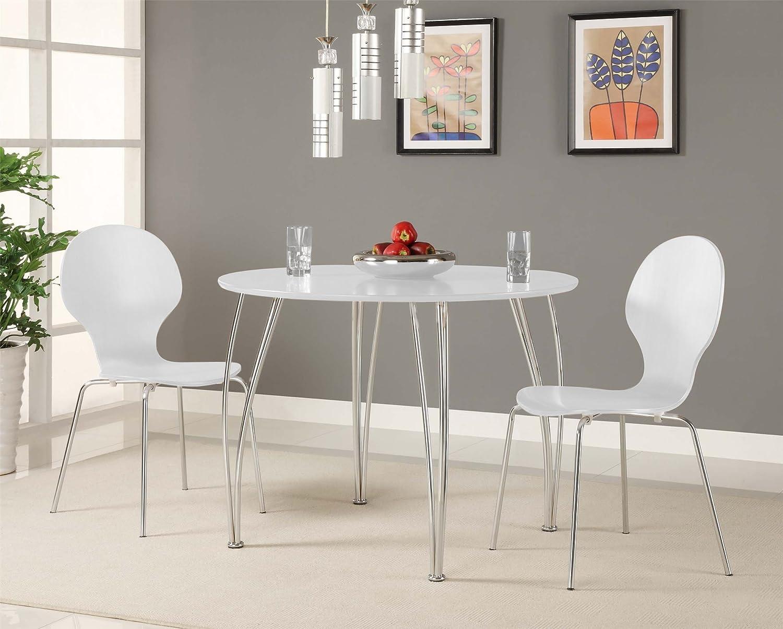 Amazoncom Novogratz Shell Bentwood Modern Round Chairs White