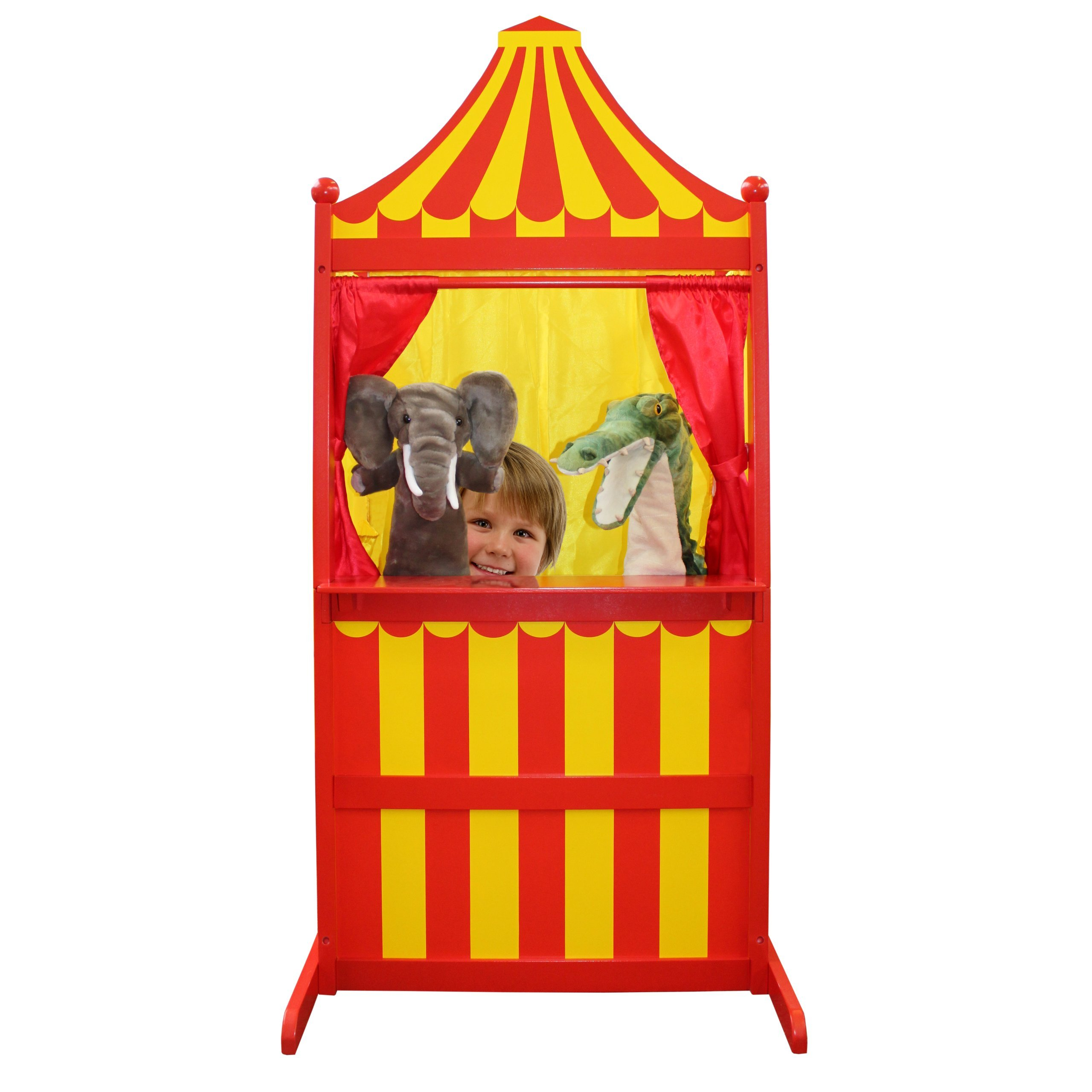 The Puppet Company 3 in 1 Puppet Theatre Children Toys, Red/Yellow