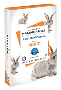 Hammermill Paper, Fore Multipurpose Paper, 11 x 17 Paper, Ledger Size, 20lb Paper, 96 Bright, 1 Ream / 500 Sheets (103192R) Acid Free Paper