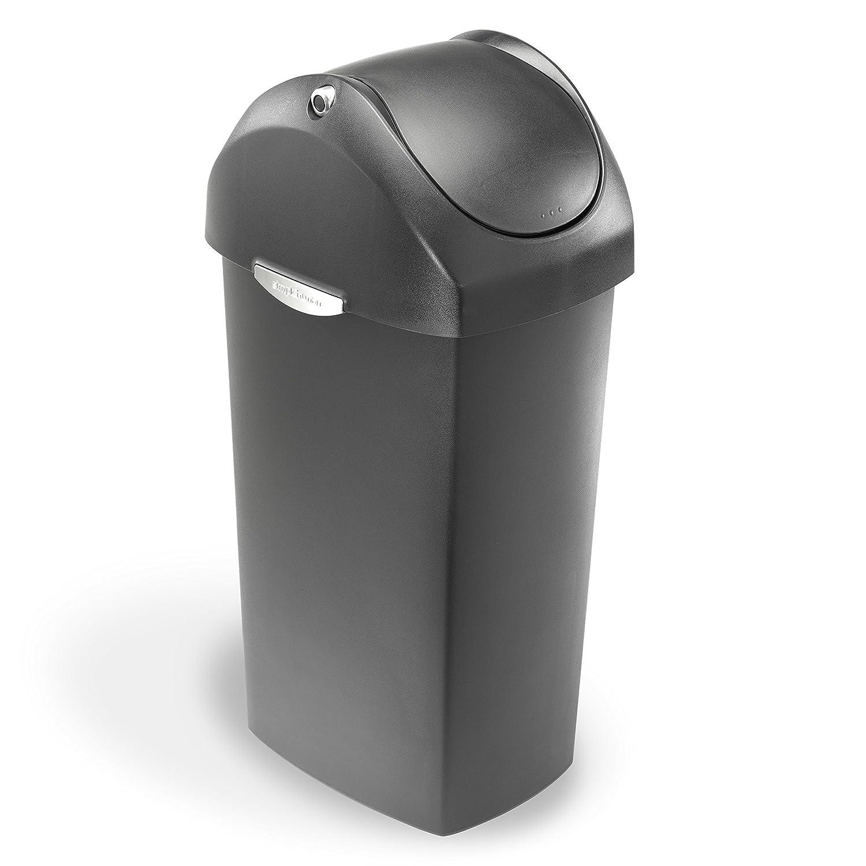 simplehuman swing lid trash can black plastic 60 l
