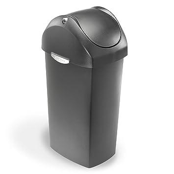 Amazon.com: Simplehuman Swing Lid Trash Can, Black Plastic, 60 L / 16 Gal:  Home U0026 Kitchen