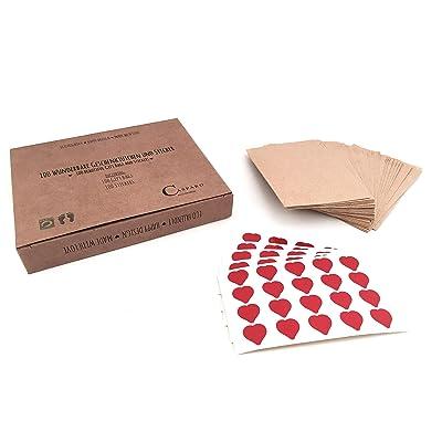 100 Merveilleux sacs en papier et 100 autocollants | Sacs-cadeaux vintage et autocollants en forme de cœur | Écologique | Sachet plats pour les larmes de joie, mouchoirs de mariage | Sachets pour des petits cadea