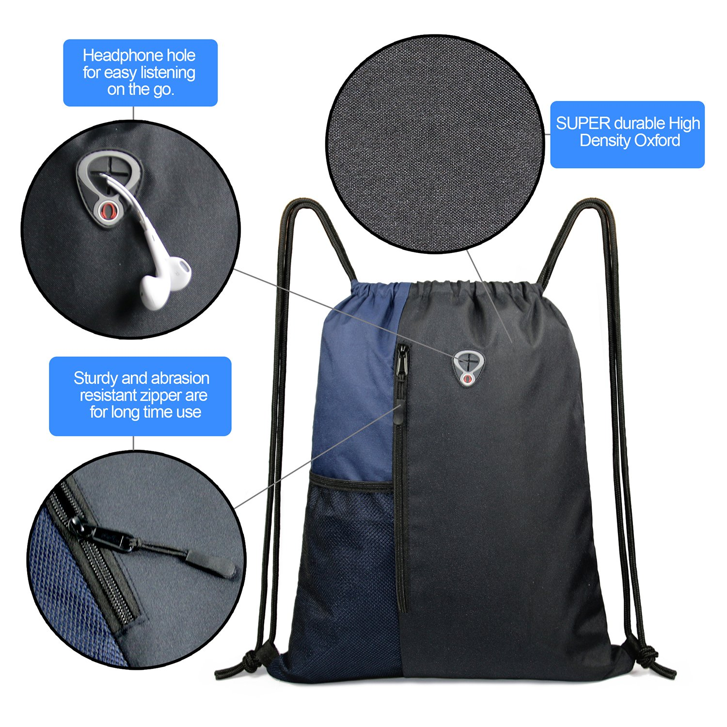 Drawstring Backpack Sports Gym Bag for Women Men Children Large Size with Zipper and Water Bottle Mesh Pockets (Black/Navy) by BeeGreen (Image #3)