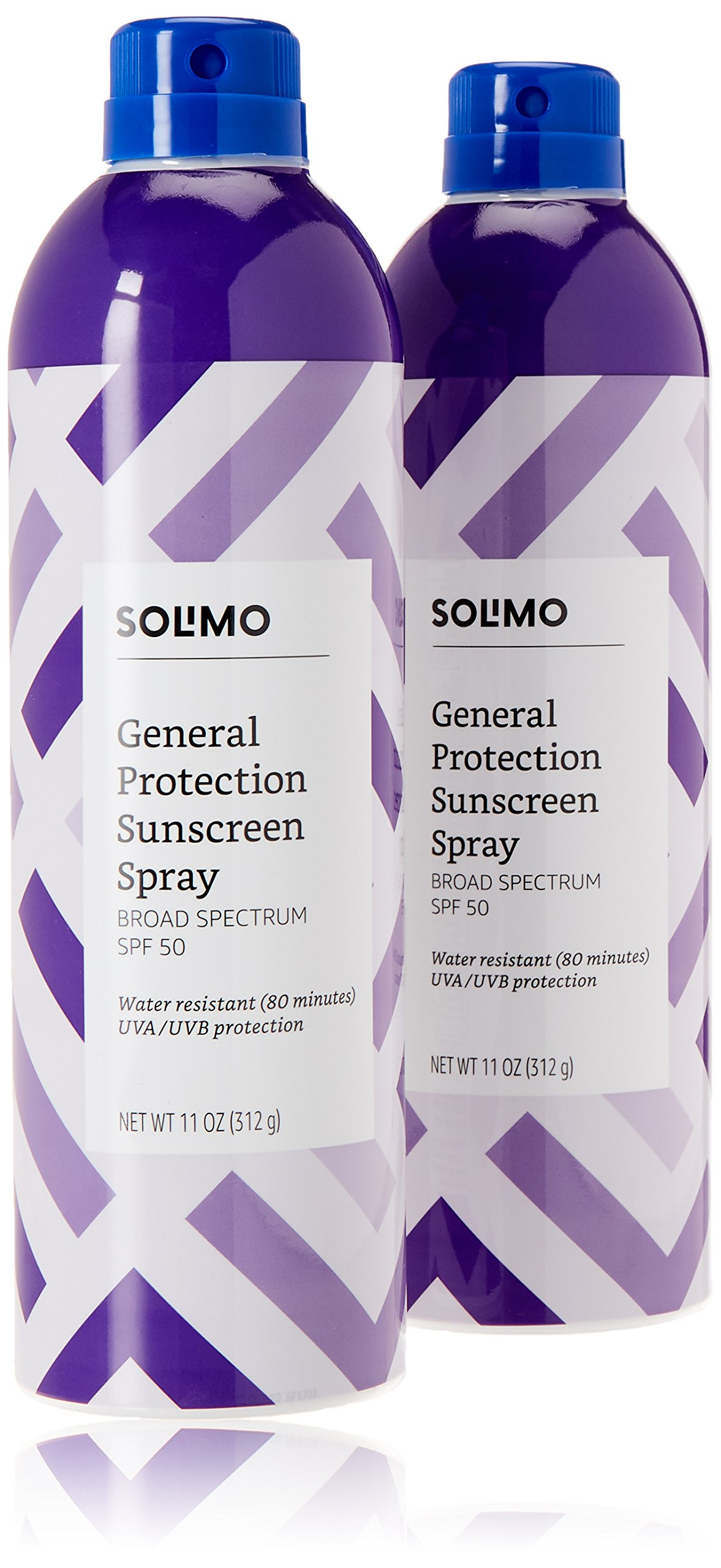 Amazon Brand - Solimo General Protection Continuous Sunscreen Spray Broad Spectrum SPF 50, 11 Ounce (Pack of 2) by Solimo