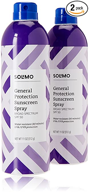 Amazon Brand - Solimo General Protection Sunscreen Spray Broad Spectrum SPF 50, 11 Ounce (Pack of 2)