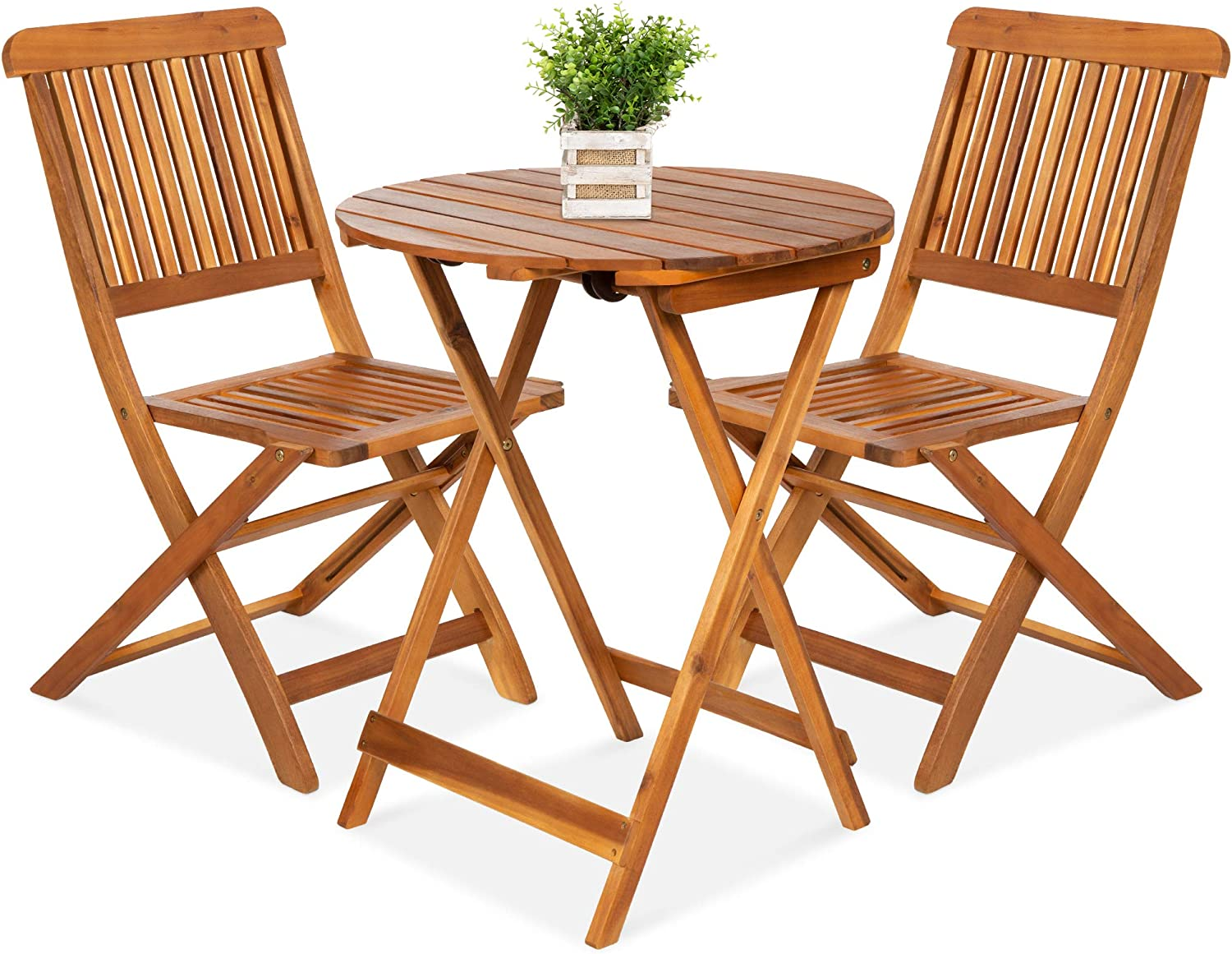Best Choice Products 3 Piece Acacia Wood Bistro Set Folding Patio Furniture For Backyard Balcony Deck W 2 Chairs Round Coffee Table Teak Finish Natural Garden Outdoor