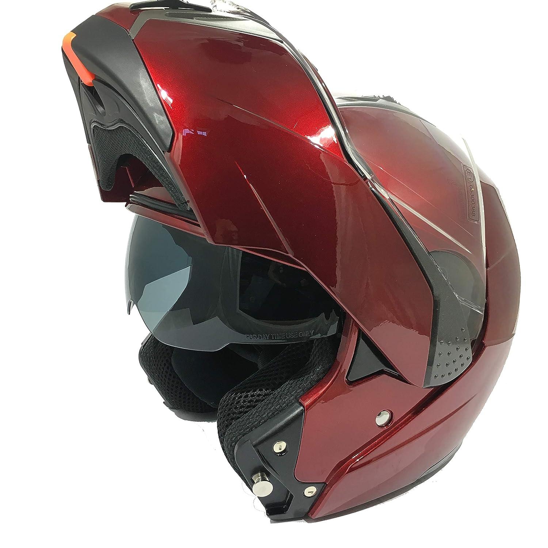 57-58 CM 3GO-E335 CASCO INTEGRALE MOTO SCOOTER ECE OMOLOGATO MOTORINO CASCHI DONNA UOMO CON DOPPIA VISIERA PARASOLE BORGOGNA M