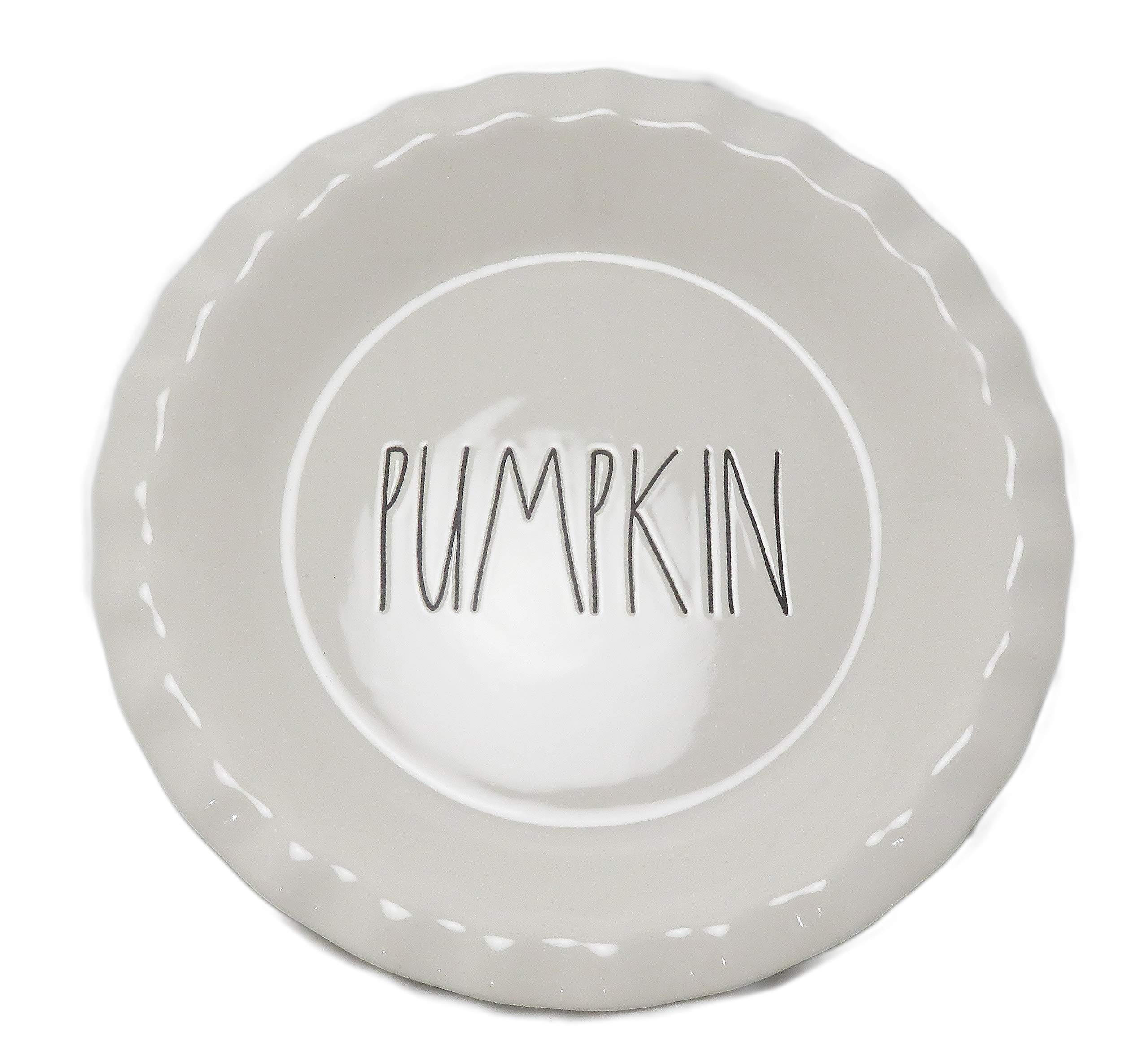 Rae Dunn By Magenta PUMPKIN Large Letter LL Ceramic Pie Pan