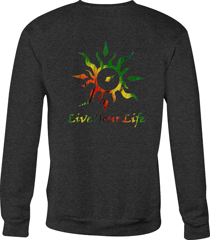 Motorcycle Crewneck Sweatshirt Live Your Life Tribal Sun Compass Tiedye