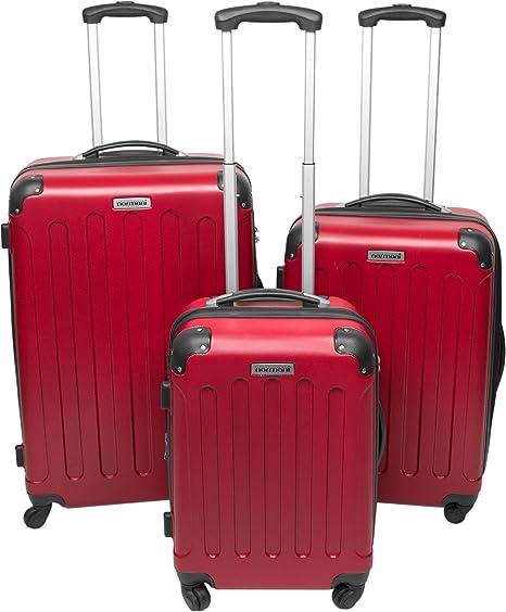 Resistente a arañazos rígido ABS maletas duras 3 tlg Rojo rojo Talla:M/L