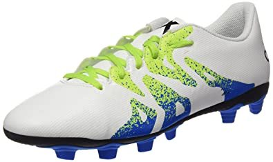 adidas Men's X 15.4 Fxg White, Green and Black Football Boots - 10 UK