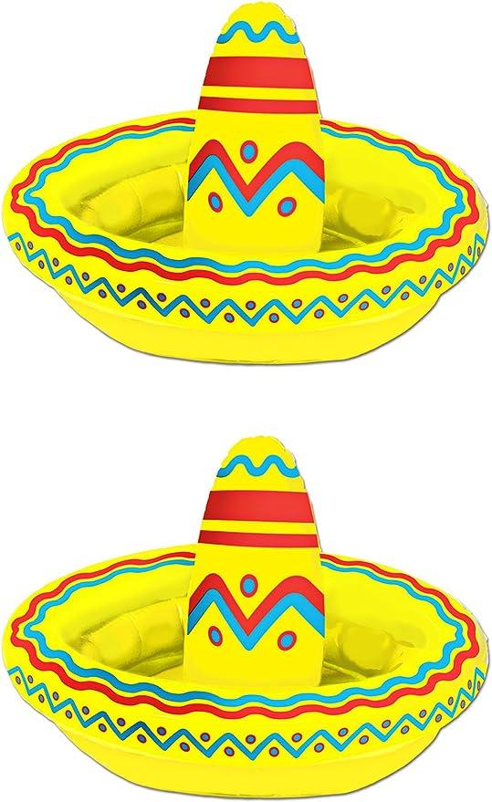 Beistle S50254AZ2 Inflatable Sombrero Coolers 18 x 12 2 Piece Multicolored