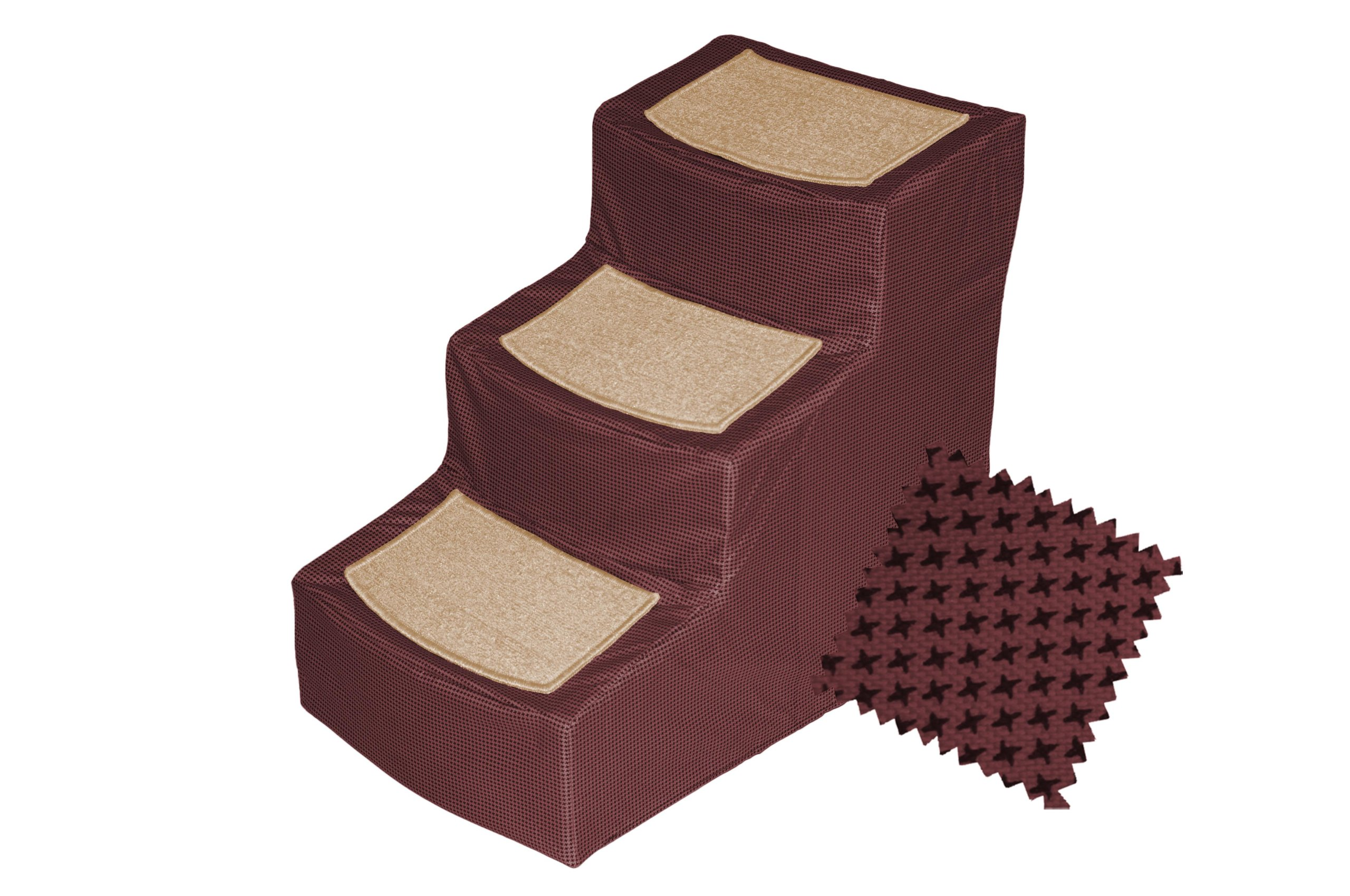 Pet Gear Designer 3-Step Removable Cover, Pet Stairs, Burgundy