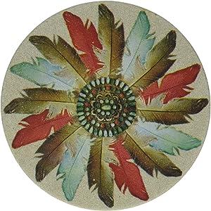 Thirstystone Stoneware Feather Medallion Coaster, Multicolor