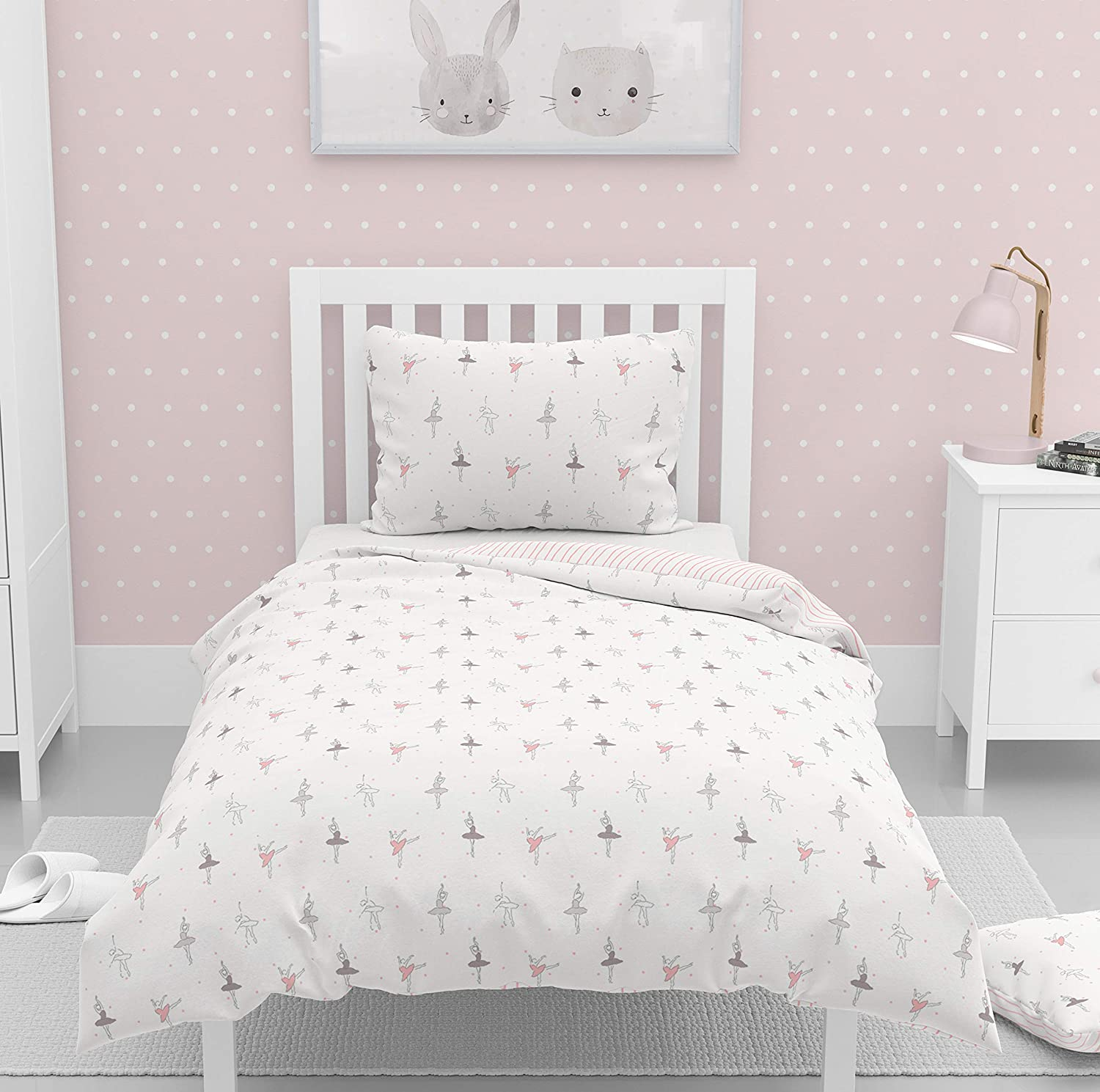 Organic Duvet Cover Twin (Pack of 3) GOTS Certified Organic Cotton Duvet Set Twin/Single with Pillowcase Dreamy Soft Reversible Breathable Hypoallergenic Kids Room (Twin, Ballerina & Pink Stripes)