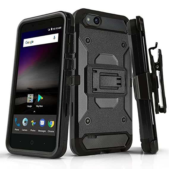 Phone Case for [ZTE ZFIVE G LTE (Z557BL) / ZTE ZFIVE C LTE (Z558VL)], [Tank  Series][Black] Cover with [Kickstand] & [Belt Clip Holster] (Tracfone,