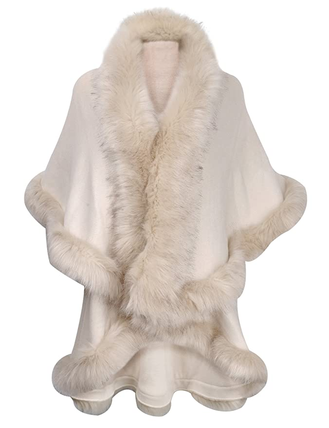 1920s Shawls, Scarves and Evening Jacket Tips ZLYC Women Fine Knit Open Front Faux Fur Trim Layers Poncho Cape Cardigan Sweater $52.99 AT vintagedancer.com
