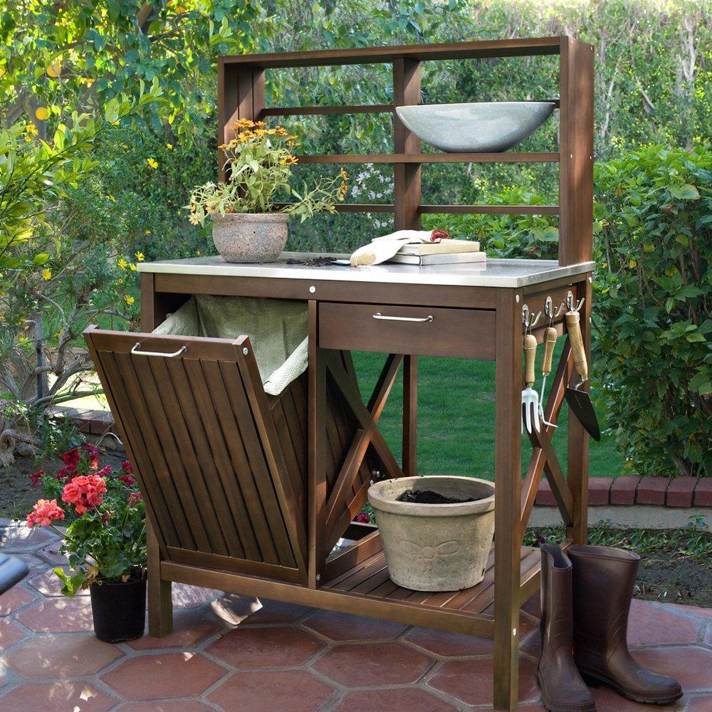 Belham Living Winfield Acacia Wood Potting Bench by Belham Living