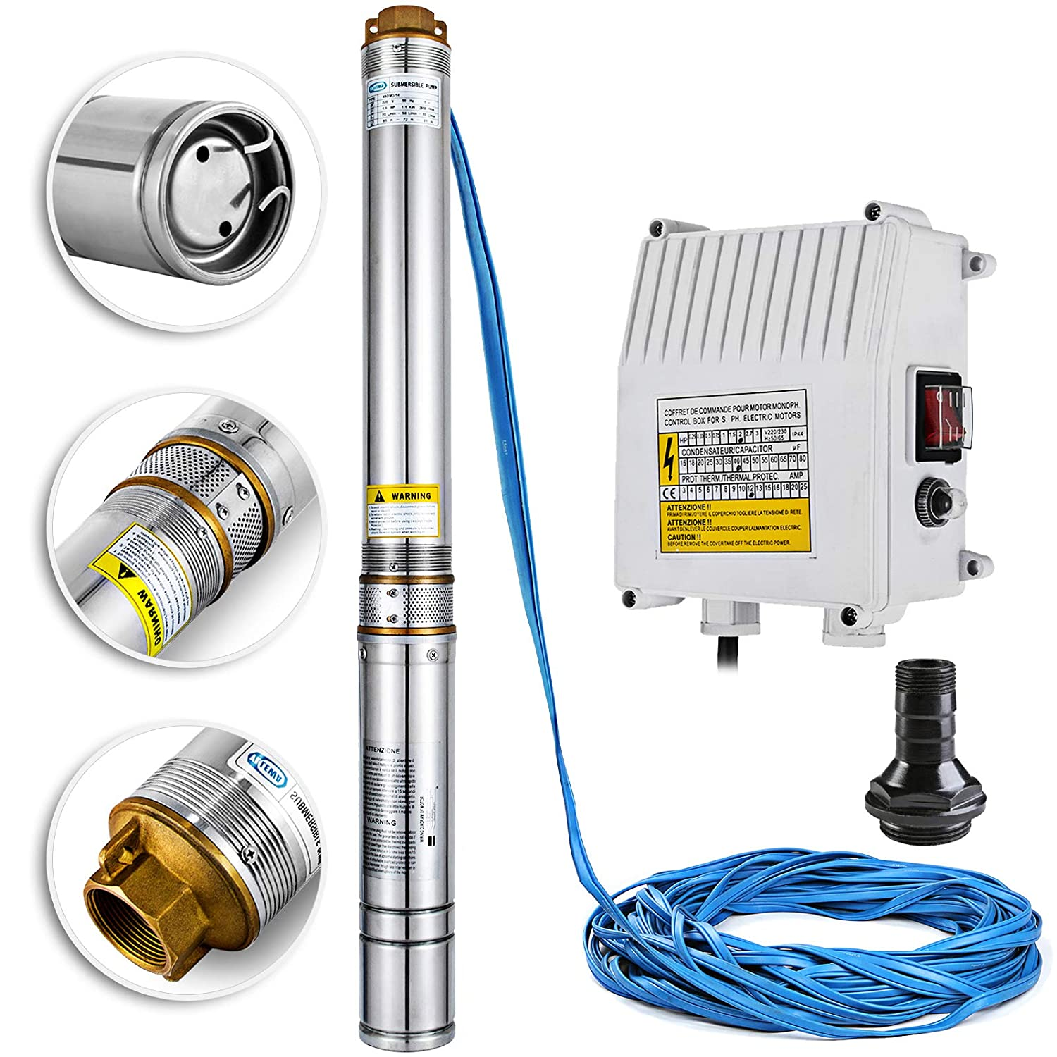 Happybuy Deep Well Submersible Pump 1.5HP Submersible Well Pump 330ft 24GPM Stainless Steel Deep Well Pump for Industrial and Home Use